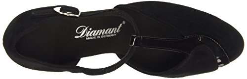 Diamant - Dames Dansschoenen 068-069-008 Suede / Lak (brede Breedte) Zwart Suède Met Zwarte Lakaccenten