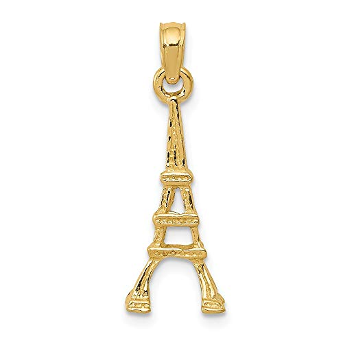 - 14k Yellow Gold Eiffel Tower Pendant Charm Necklace Travel Transportation Fine Jewelry Gifts For Women For Her