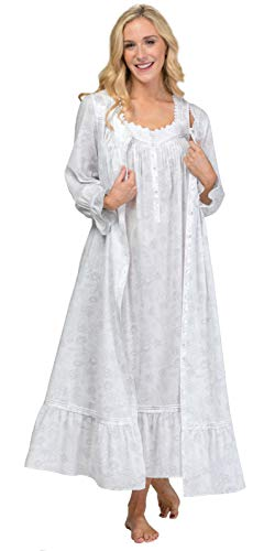 (Eileen West Cotton Peignoir Set - Ballet Length Gown & Robe in Rose Whisper (White/Gray & Pink Roses, X-Large))
