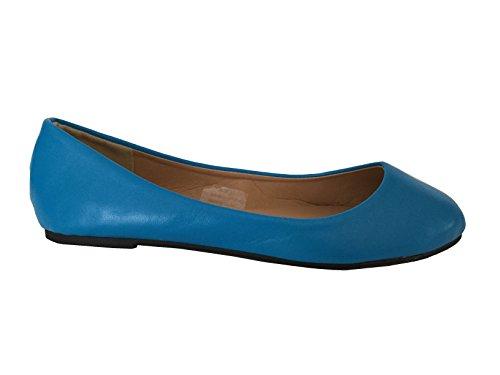 Shoes8teen Shoes 18 Damen Ballerina Ballerinas Flache Schuhe Solids & Leopards ... Blauer Pu 8600