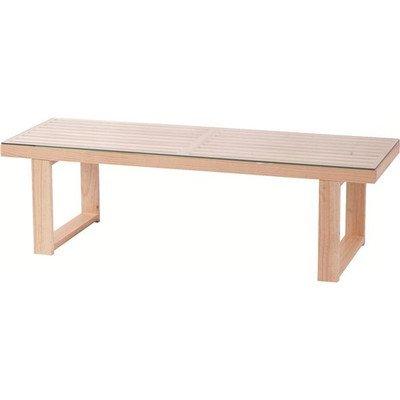 ローテーブル 長方形 木製/強化ガラス製 NET-411NA ナチュラル[通販用梱包品] B07DZB83M9