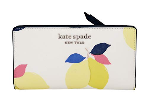 Kate Spade Cameron Lemon Zest Large Slim Wallet in White