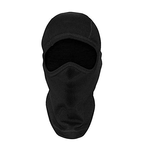 Woolx Unisex Balaclava Heavyweight Warmth Merino Wool Face Mask For Men & Women , Black, One Size