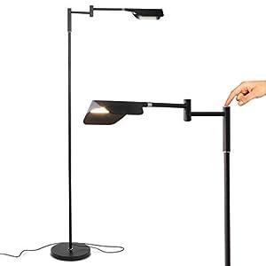 Brightech Leaf – Adjustable Pharmacy LED Floor Lamp for Reading, Crafts & Precise Tasks – Standing Bright Light for Living Room, Sewing – Great Lighting for Office Desks & Tables – Jet Black