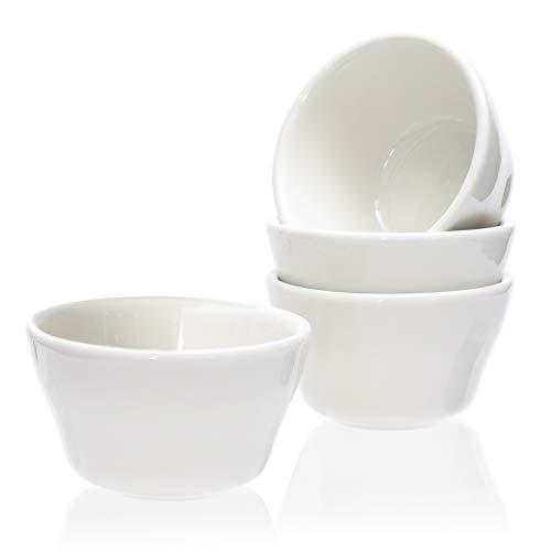 (Cole & Hammen - 8 Ounce Porcelain Bouillon Cups - Small Bowl - Dessert, Fruit, Gravy, Sauce - Dishes, White, Set of 4, 1 YEAR WARRANTY)