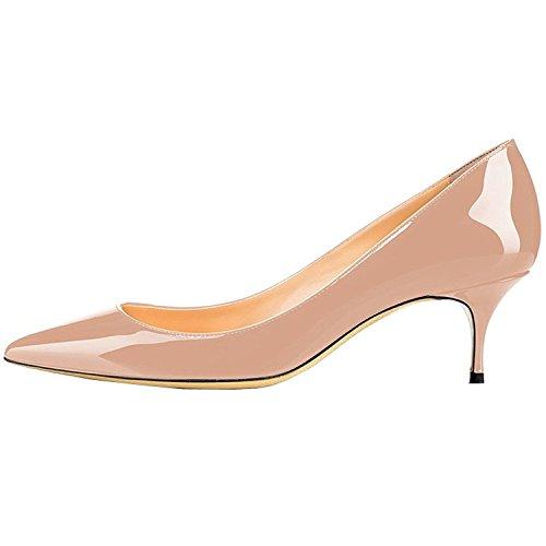 Slip Womens 5CM Pointed Nude Lovirs Pumps on Toe Kitten Shoes Patent 6 Heels Leather Office RFEUA