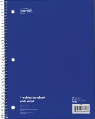 """Staples 1 Subject Notebook, Wide Ruled, 8"""" x 10-1/2"""", Blue"""