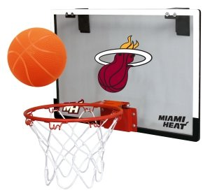 (NBA Miami Heat Game On Indoor Basketball Hoop & Ball Set, Large, Black)