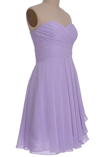 MACloth Women Strapless Lace up Short Bridesmaid Dress Cocktail Party Gown Marrón