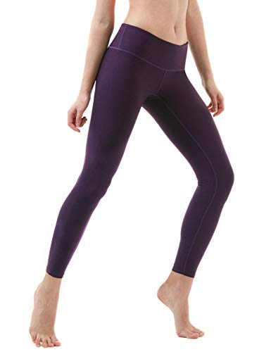 TSLA Women's Mid/High-Waist Tummy Control w Hidden/Side Pocket Yoga Pants, Inner Pocket Thick Midwaist(fyp51) – Dark Violet, Medium (Size 8-10_Hip39-41 Inch)