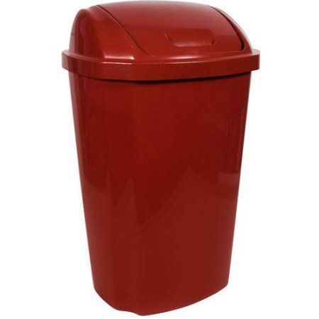 Hefty 13.5 Gallon Swing Lid Trash Can, Red