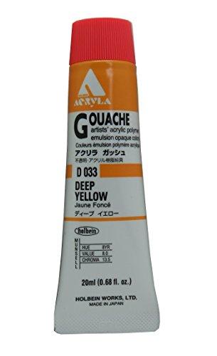 Holbein Acryla Gouache Artists Acrylic Polymer Emulsion, 20ml Deep Yellow (D033)