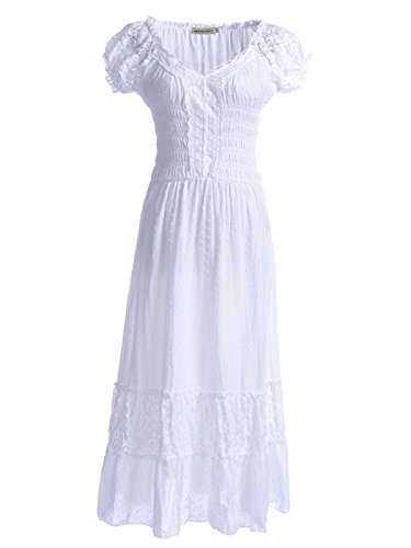 Anna-Kaci Renaissance Peasant Maiden Boho Inspired Cap Sleeve Lace Trim Dress, White, Small