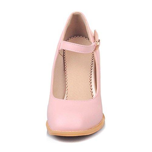 COOLCEPT Moda Mujer Mary Janes Bombas Zapatos Al Tobillo Court Shoes Tacon Ancho Rosado