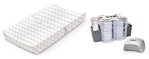 Contoured Changing Pad with Plush Cover, 2-in-1 Diaper Organizer & Wipe Warmer, Grey by Babyhaven