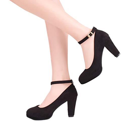 Manadlian Cheville Plateforme Talon Chaussures Aiguille 8cm Bride À Fermeture Epais Sexy Noir Chaussons Soiree Escarpins Lacets Femme Carré Club qCHpq1