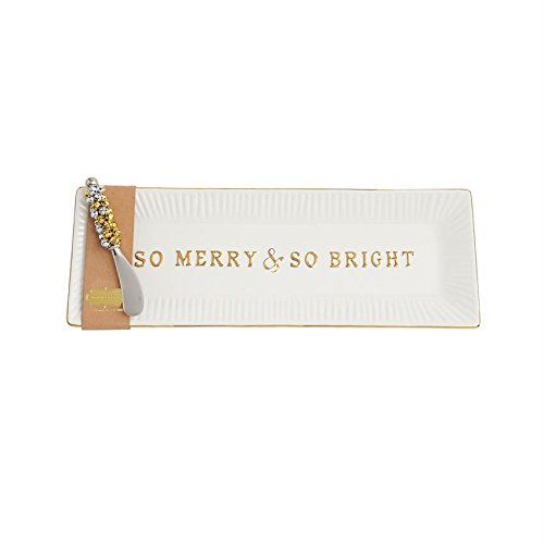 Bright Glitter Merry (Mud Pie 4075105M So Merry & So Bright Hostess Set Ceramic Platter, Gold)