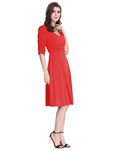 4 Dress amp;Joe Women's Cocktail V Neck Sleeve Classy Dress 3 Casual Sue Red Ruched Waist StWO4nWdx
