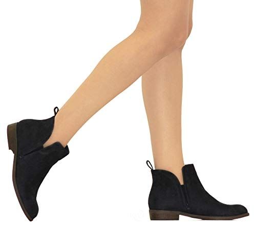 Western r Stylish Shoes Boot Su Ankle Womens Slip Pointed MVE Bootie Cowboy Low Cute Zip On Heel Black dRITxq