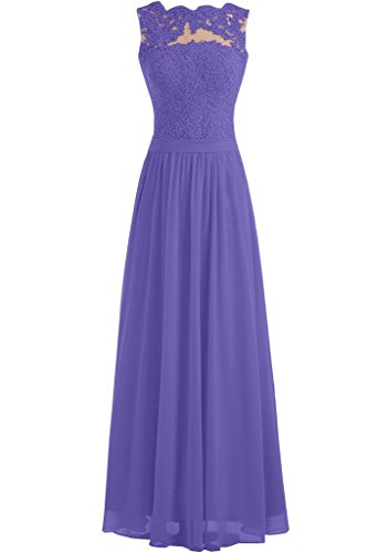 Long Dress Gown Lace Prom New Angel Evening Lavender Chiffon 2016 Formal Bride 1qwA4v0X