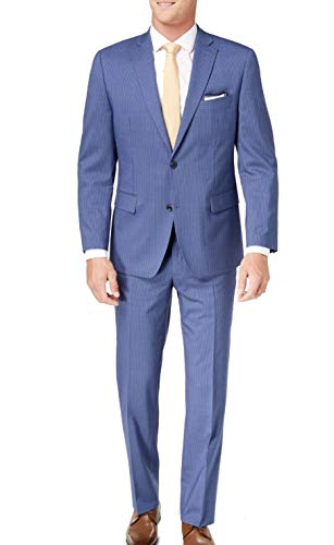 Michael Kors Mens 40S Pinstriped Two Button Wool Suit Blue 40 ()