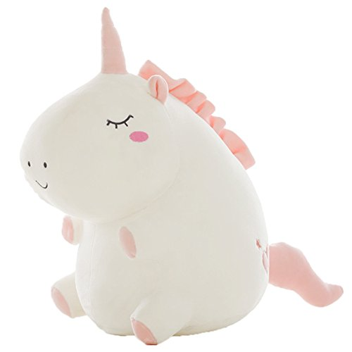 Chengcaifengye Fat Unicorn Plush Toy White and Gray Unicorn Stuffed Animal toy Gift for Kids( White-M) by Chengcaifengye