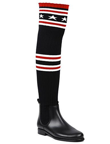 MaxMuxun Women Shoes Knit Thigh High Rain Boots Over The Knee Sock Boots Black