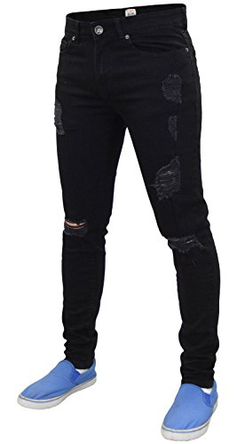 Black Super Pantalones Fit Stretch Denim Enzo Jeans EZ383 Ripped Hombres Skinny estilo EfPvq