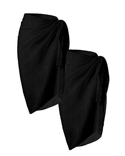 Huiyuzhi Womens Beach Sarong Swimsuit Wrap Chiffon Swimwear Cover Up (One Size, Black)