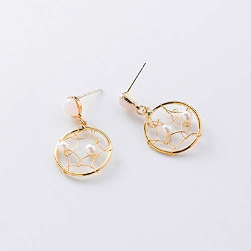 Women's Earrings 925 Silver Needle Hand-Knitted Mesh RoundPink Dream ()