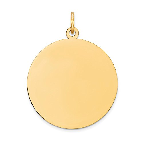 - 10k Yellow Gold .013 Gauge Circular Engravable Disc Pendant Charm Necklace Round Plain Fine Jewelry Gifts For Women For Her