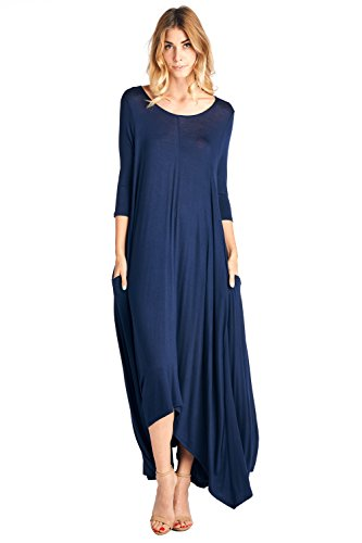 12 Ami Solid 3/4 Sleeve Pocket Loose Maxi Dress Navy S