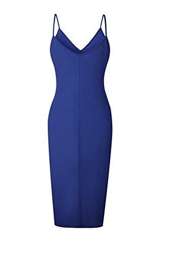 yulinge Las Cuello Verano Bodycon Hendidura De V Maxi Vestido Mujeres Vestidos XS Blue De Fiesta Casual rIrdqC4w
