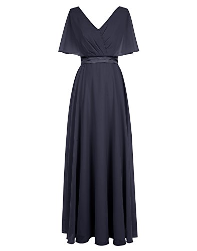 ALAGIRLS V Neck Chiffon Bridesmaid Dress Lace Up Back Prom Dress Satin Sash NavyUS12 (Johnny Formal Dress)