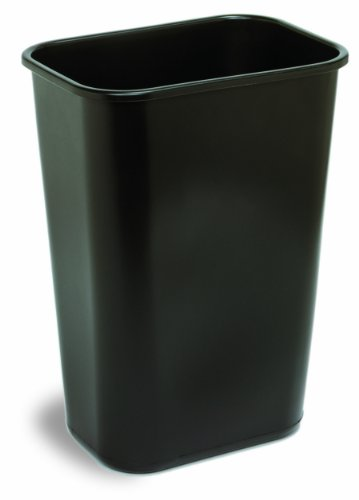Continental 4114BK 41-1/4 Quart Commercial HDPE Trash Can, Rectangular, Black
