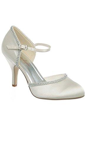 Chaussure semi-ouverte strass pour Mariée à talon Blanc jdKAH65