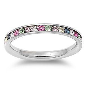 Amazoncom Stainless Steel Eternity Multi Color Cz Wedding Band