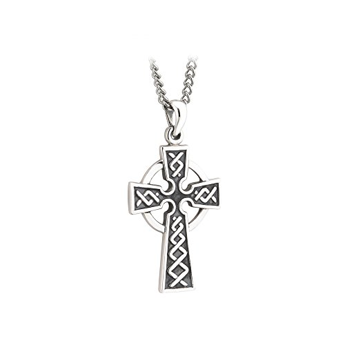 Failte Celtic Cross Necklace for Men Oxidized Sterling Silver 2 Sided Made in Ireland
