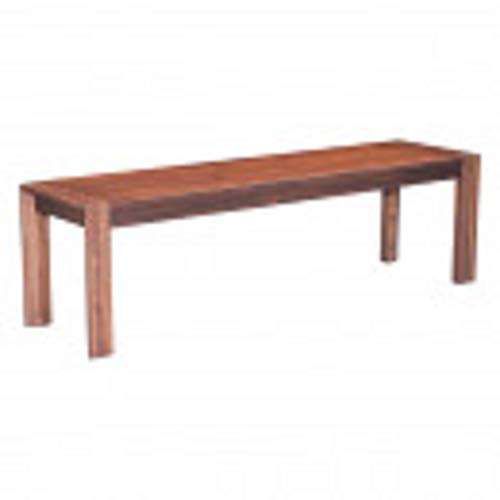 Zuo Modern 100589 Perth Bench, Constructed of Solid Wood, Finished in Rich Chestnut, Block Legs and Planked Top, 250 lbs Weight Capacity, Dimensions 62.2