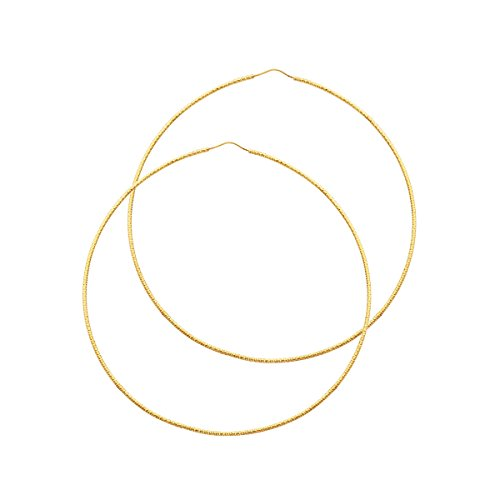 14K Yellow Gold 1mm Extra Large Diamond Cut Hoop Earrings - 80 MM by Top Gold & Diamond Jewelry