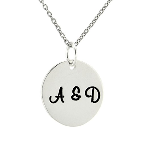 Initial Necklace 925 Sterling Silver Custom Two Letters Disc Personalized Monogram Pendant Charm (20) - Monogram Letter Charm