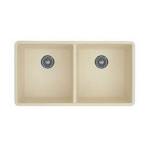 Blanco 516321 Precis 16-Inch Equal Double Bowl Sink, Biscuit ()