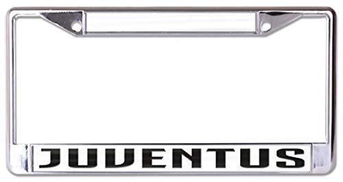 WinCraft Juventus Premium License Plate Frame, Metal with Inlaid Acrylic, 6 x 12 inches, 2 Holes (Juventus Car Accessories)