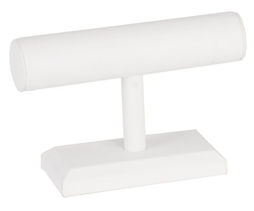 KC Store Fixtures 49137 Jewelry T-Bar Display for Bracelets and Watches, White Leatherette, 5 1/2 Inches High Jewelry Display Fixtures