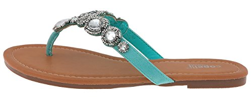 Capelli New York Faux Leather Hooded Thong with Seed Beads Ladies Flip Flops Mint (Hooded Thongs)