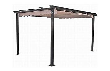 plicosa m279707 pergola aluminio toldo corredero 3x4 m crudo