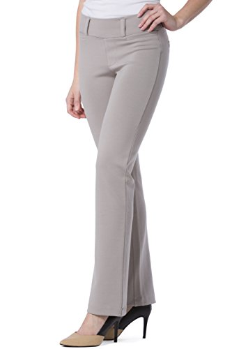 - Fishers Finery Women's Ponte Stretch Boot Leg Pant; Pull On (Gray, L Tall)