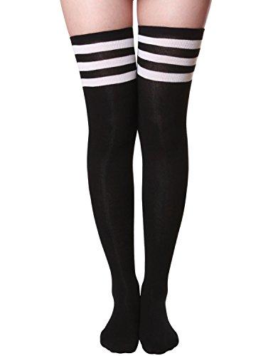 (HASLRA Women's Tube Over The Knee High Socks 1 Pairs (Tube-Black-L))