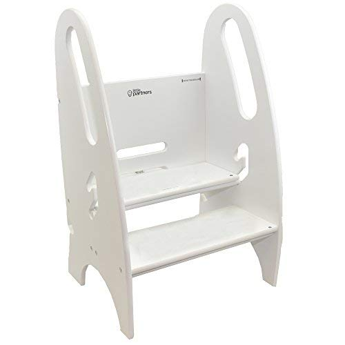Little Partners The Growing Step Stool Adjustable Height Nursery, Kitchen or Bathroom Footstool - Wooden Non-Tip Design for Both Toddlers & Adults (Supports Up to 150lbs) (Soft White)