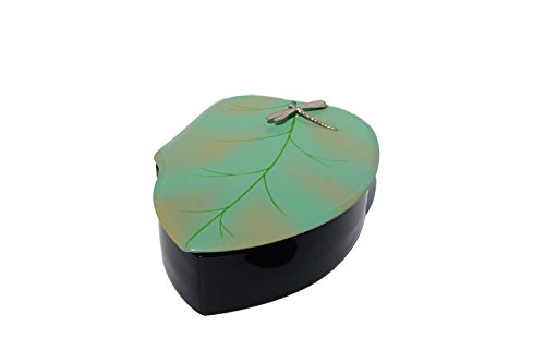 Bodhi Tree Collections Round Leaf Box with Silverplated Dragonfly, Green & Black